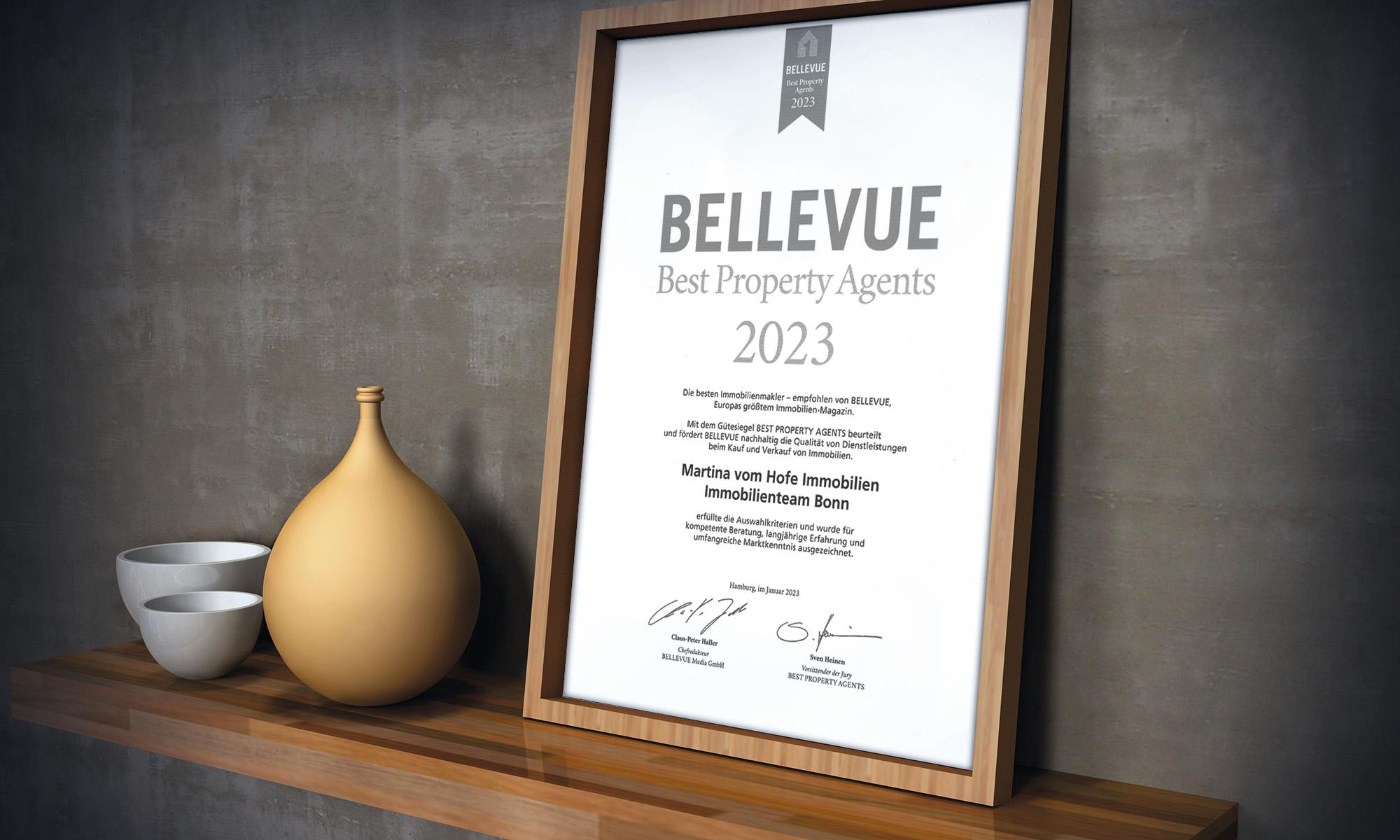 Auszeichnung Best Property Agents 2016 von der BELLEVUE